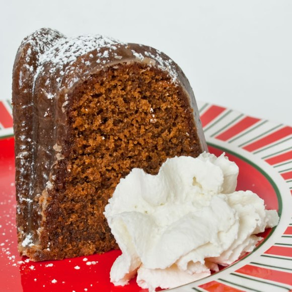 Slice Deep, Dark, Spicy Gingerbread with Coffee Glaze