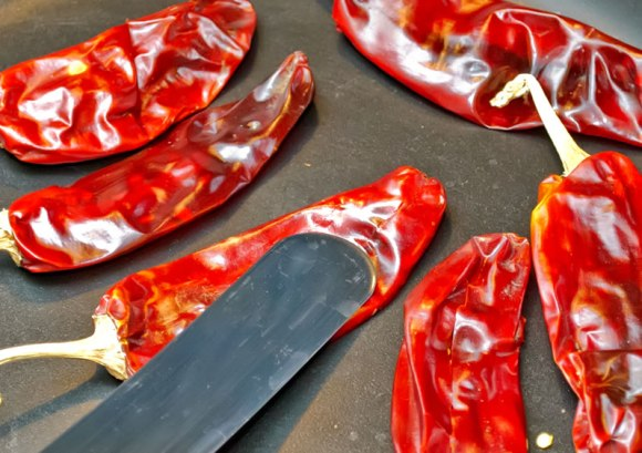 Grilling peppers Breast of Chicken with Fiery, Fruity Guajillo Sauce