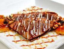 Spirited Mocha Crepes with Peanut Butter Caramel & Roasted Peanut-Cocoa Nib Brittle