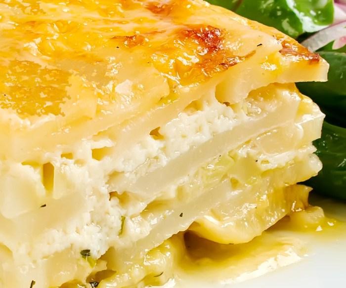 Potato Gratin with Ricotta, Pancetta & Melted Leeks