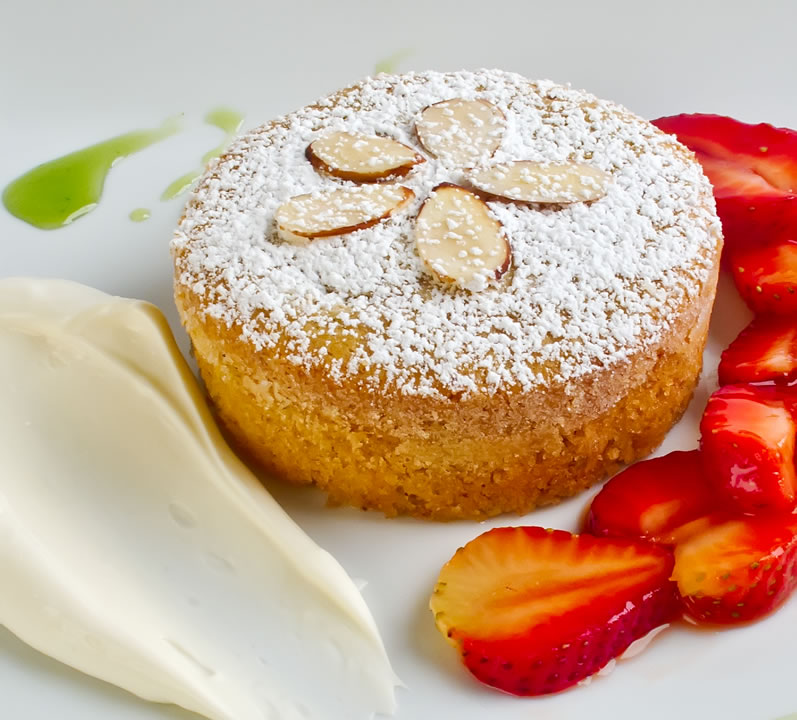 Heavenly Almond Yogurt Cake with Fresh Strawberries, Strawberry Caramel Sauce & Basil Sauce
