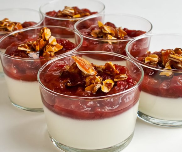 Sour Cream Panna Cotta with Rhubarb Cinnamon Hot Sauce Almond Praline Mastering Panna Cotta   with Six Variations