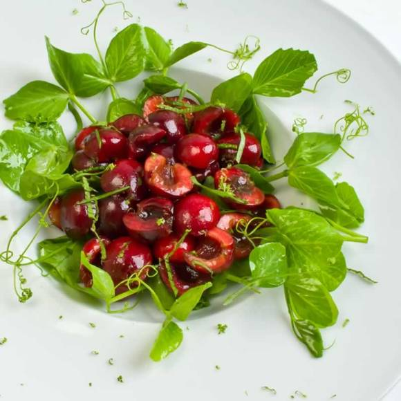 Bing Cherry Pea Vine Salad with Lime Vinaigrette1 Sweet Cherry & Pea Vine Salad with Basil & Mint