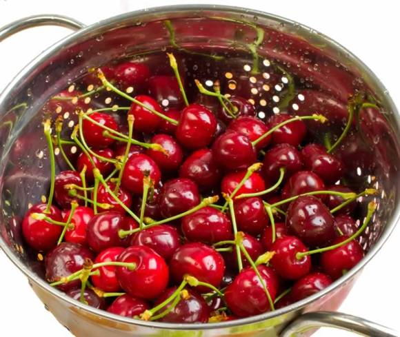 Seasons First Bing Cherries in a Colander Sweet Cherry & Pea Vine Salad with Basil & Mint