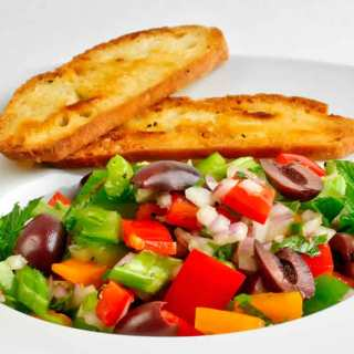 Red & Orange Bell Pepper Salad with Mint, Parsley & Lemon-Garlic Vinaigrette