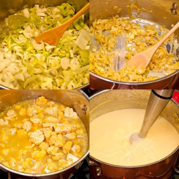 Four Key Steps for Perfect Cauliflower Soup Creamy Cauliflower Leek Soup with Curried Mustard Croutons