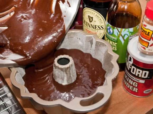 Pour Batter into Bundt Pan for Chocolate Ginger Chipotle Stout Cake Chocolate Ginger Chipotle Stout Cake