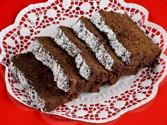 Spicy Chocolate Banana Fresh Ginger Tea Loaf Sliced and Ready to Serve Spicy Chocolate, Banana & Fresh Ginger Tea Loaf