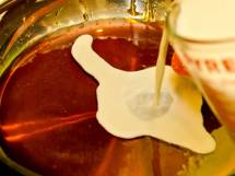 Pouring Milk into Caramelized Sugar