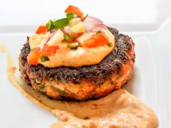 Smoked Sockeye Salmon Cakes with Chipotle Aioli Green Apple Pica de Gallo2 Smoked Sockeye Salmon Cakes with Chipotle Aioli & Green Apple Pico de Gallo