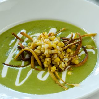 Roasted Green Chile Soup with Mexican Crema, Frizzled Tortillas & Charred Sweet Corn