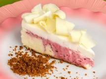 Slice of Marbled Spiced Cranberry &amp; White Chocolate Cheesecake