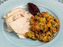 Spicy Ciabatta &amp; Cornbread Stuffing with Italian Sausage, Wild Mushrooms &amp; Fresh Herbs