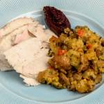 Spicy Ciabatta & Cornbread Stuffing with Italian Sausage, Wild Mushrooms & Fresh Herbs