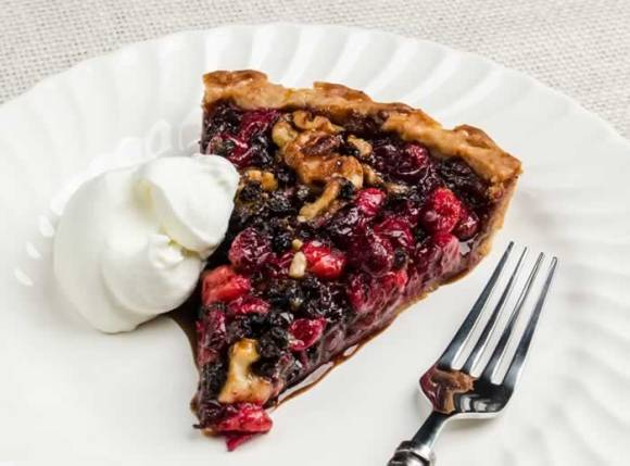 Slice of Decidedly Different Cranberry Walnut Currant Tart  Decidedly Different Cranberry, Walnut & Currant Tart