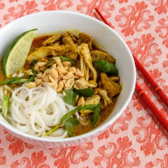 Thai Red Curry Lime Soup - Serving in White Bowl
