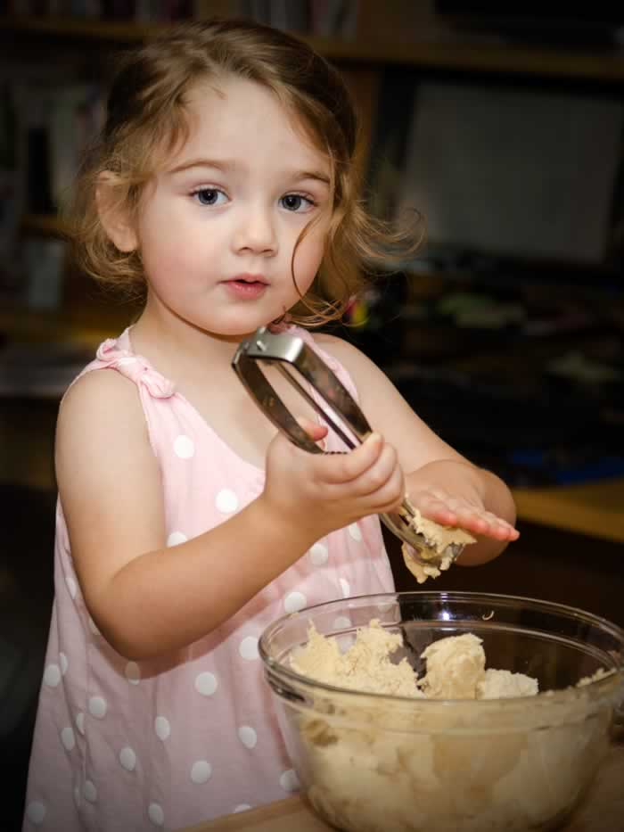 Miss Lillian Mary Ellen Making Super Chewy Snickerdoodles