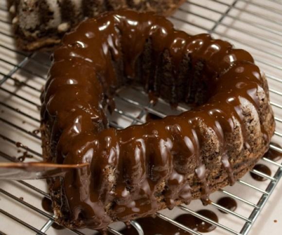 Glazing Bittersweet Chocolate & Cabernet Butter Cake