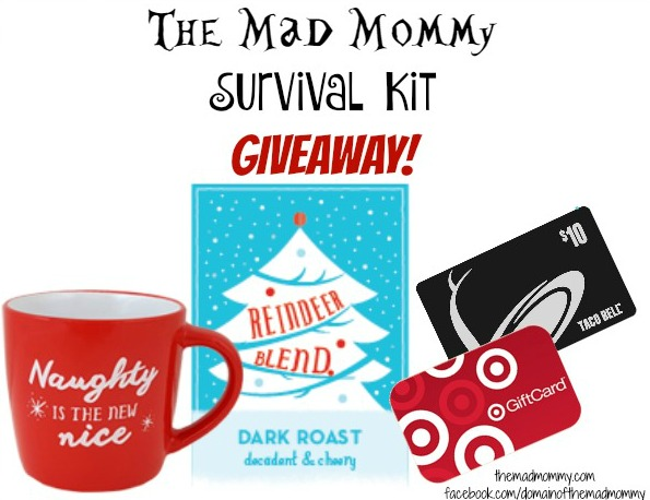 I am doing a fantastic giveaway on Facebook to celebrate hitting 2,000 likes! I am giving away a Mad Mommy Survival Kit and that kit includes coffee and Taco Bell, of course!