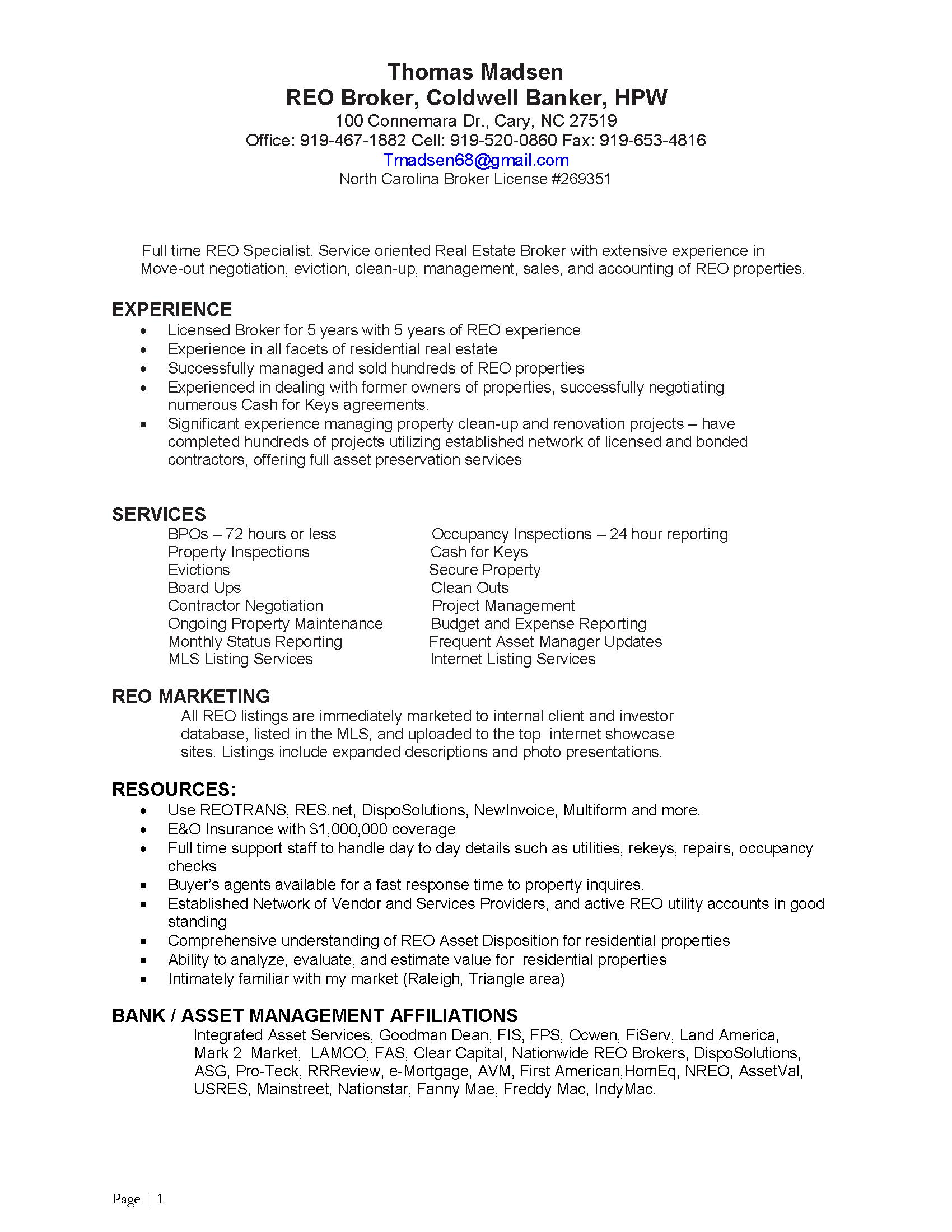 property preservation sample resume
