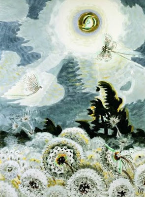Dandelion Seed Heads and the Moon, Charles Burchfield, 1961-1965