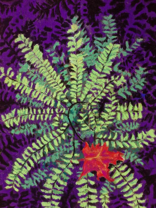 Maidenhair Fern in Pastel with Purple Background