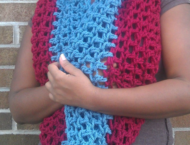 red cowl infinity scarf