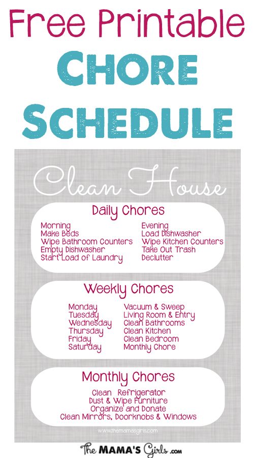 Free Printable Chore Schedule