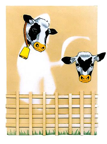 Master Cow, mixed media collage, 1998.