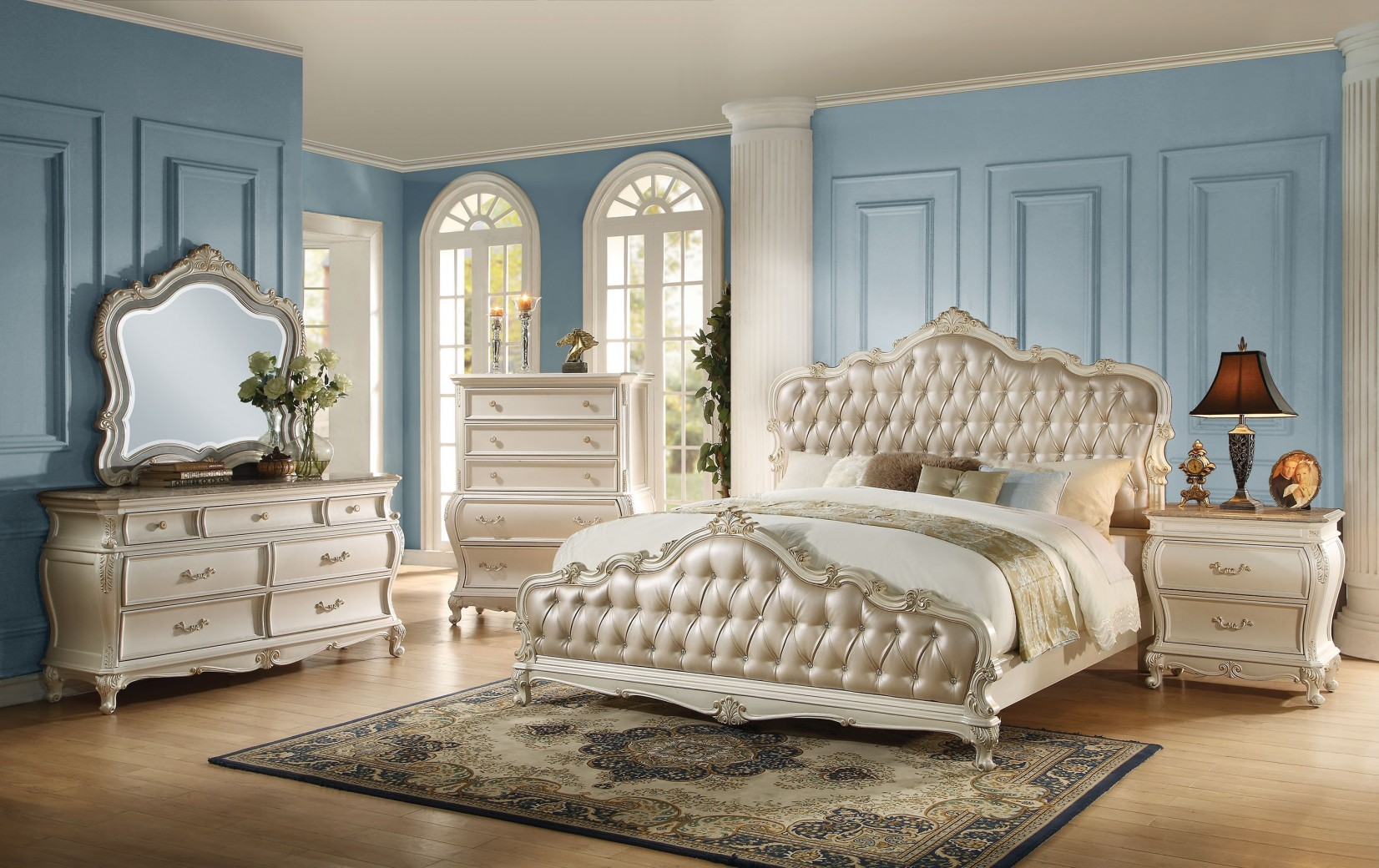 Kamar Sofia 23540 Acme Chantelle Bedroom Collection Pearl White Finish