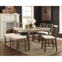 71720 Acme Claudia Counter Height Dining Set White Marble ...