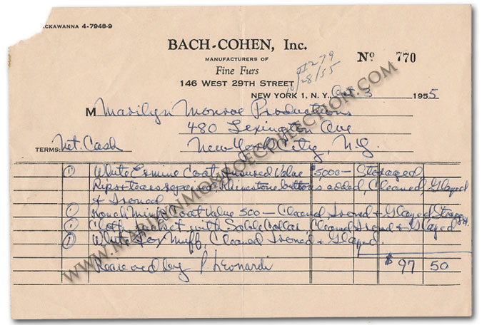 Marilyn Monroeu0027s Personal Fur Storage and Repairs Invoice - personal invoice