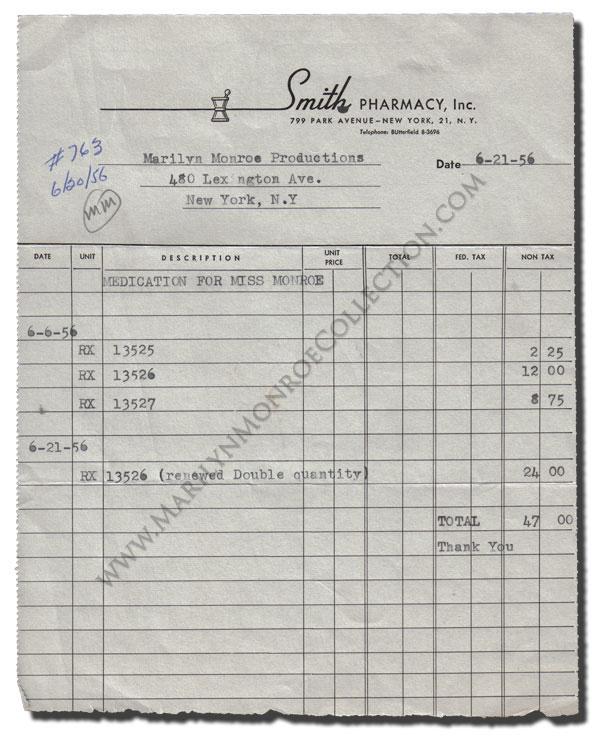 Marilyn Monroeu0027s Personal Prescription Invoice - personal invoice