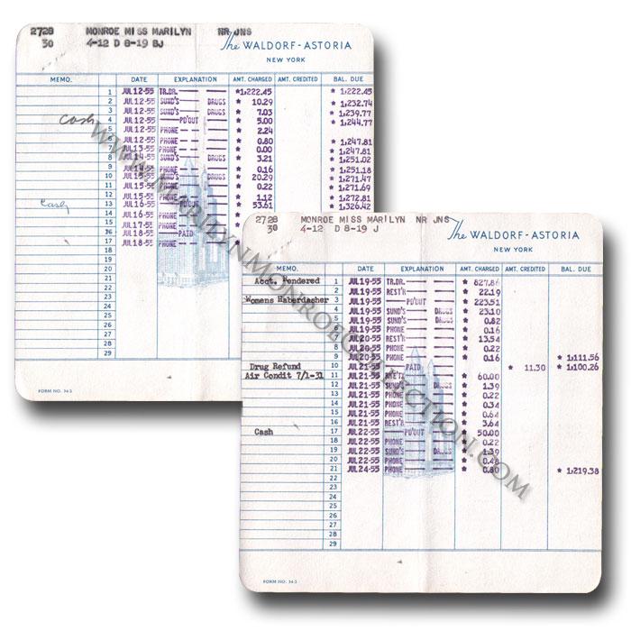 Marilyn Monroeu0027s Personal Waldorf-Astoria Hotel Invoices - hotel invoice