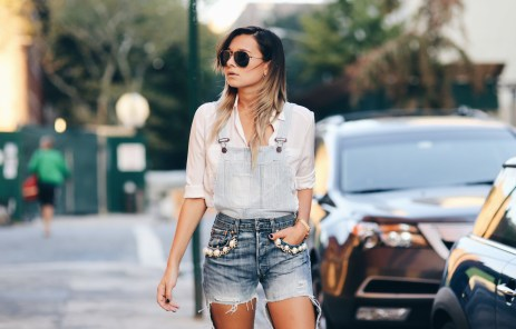 In jeans shorts