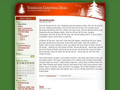 Vermilion Christmas WordPress Theme