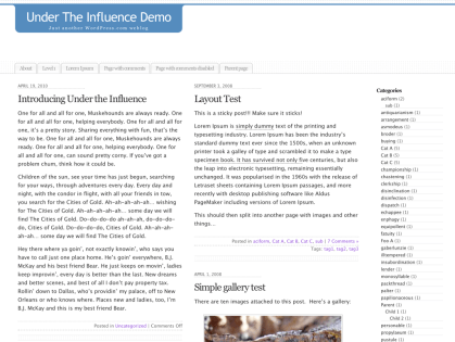 Under the Influence WordPress Theme