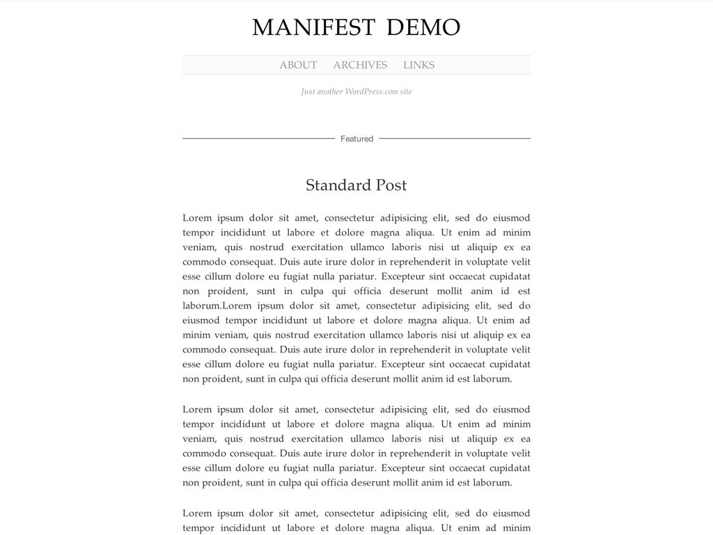 Manifest WordPress Theme