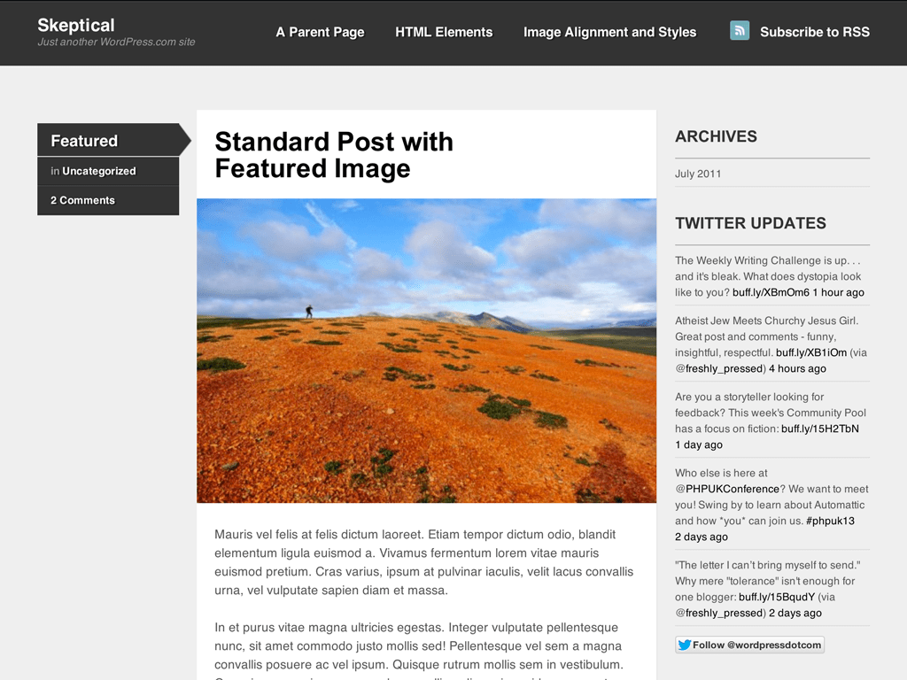 Skeptical WordPress Theme