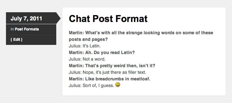 Skeptical Post Formats Chat