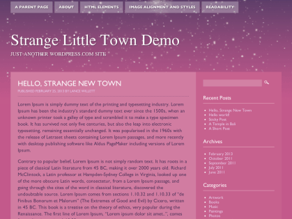 Strange Little Town WordPress Theme