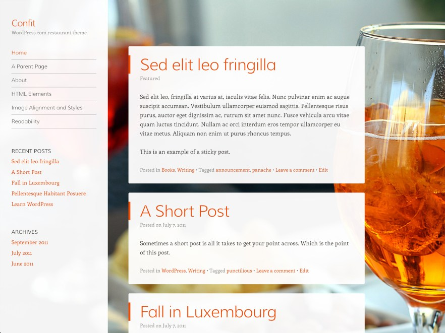 Confit WordPress Theme