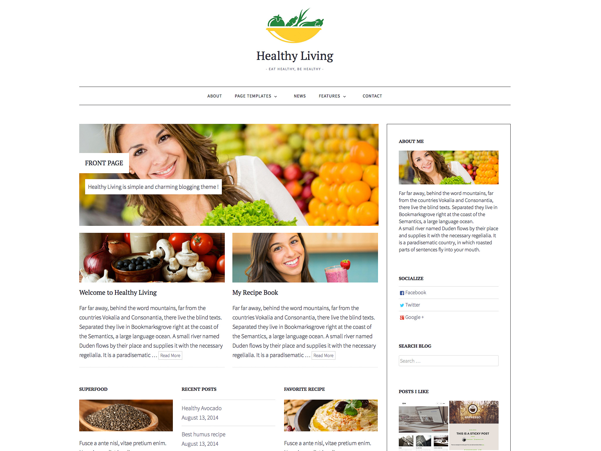 Healthy Living WordPress Theme