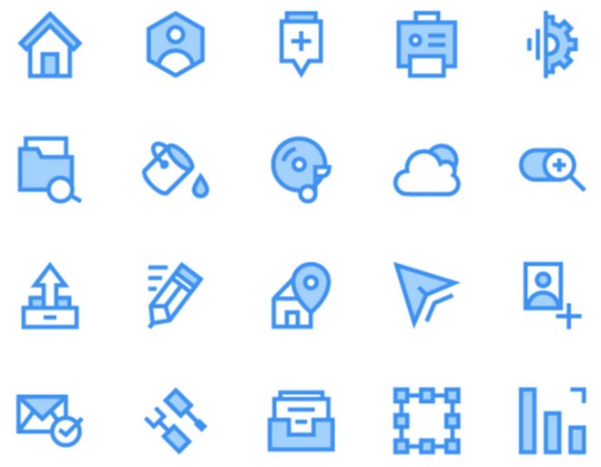 40 Biru dan Hijau Outline Icons Pack