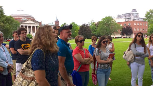 My daughter, Anna, wincing with embarrassment during a recent tour of Syracuse University.