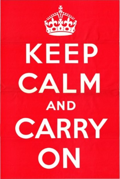 "The original 1939 ""Keep Calm and Carry On"" poster (now an internet meme) was issued by the British Government as a motivational tool to prepare the British people for the oncoming Blitz of World War II."