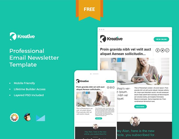 Kreative - Free Email Newsletter Template