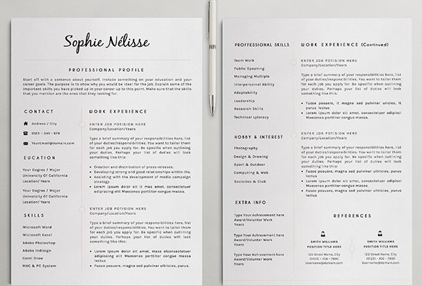 50+ CV / Resume  Cover Letter Templates for Word  PDF 2017