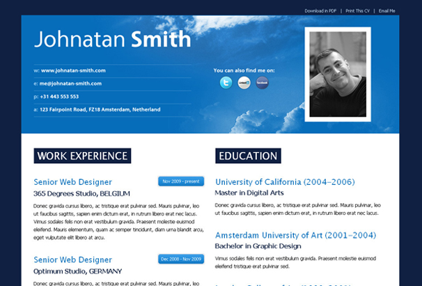 50+ Best HTML CV \ Resume Templates to Download 2017 - resume website template