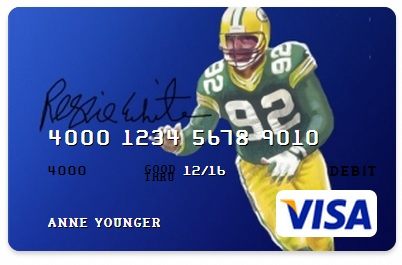 Card.com, Reggie White, VISA, Green Bay Packers